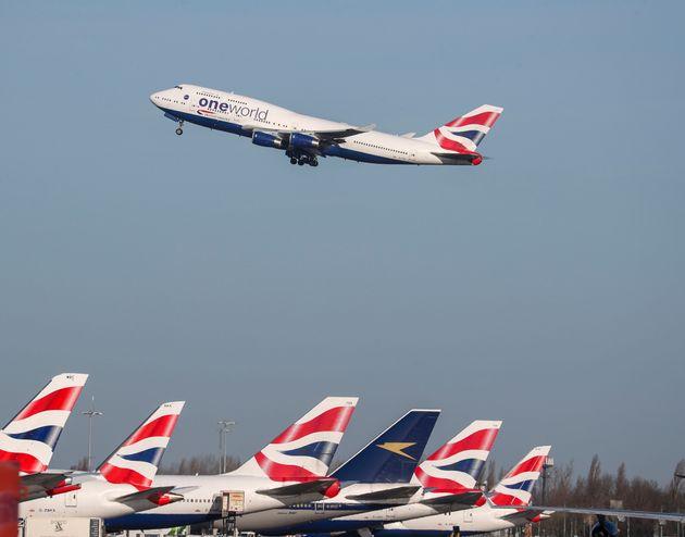 British Airways plane taking off at Heathrow