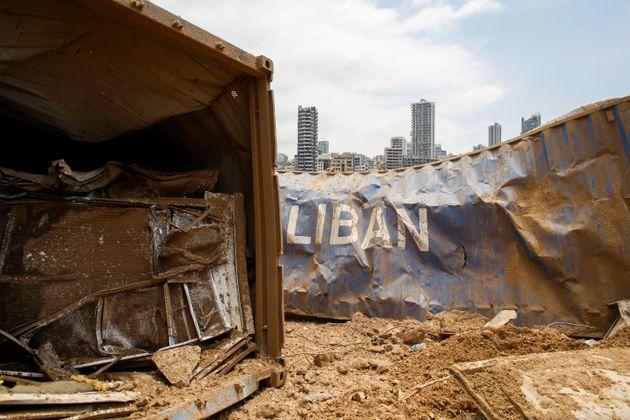 Les dégâts sur le site de l'explosion dans le port de Beyrouth, au Liban, le 6 août...