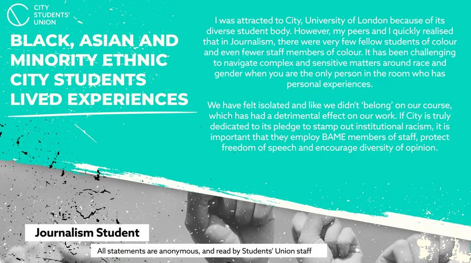 Experiences of BAME students at City, University of London were shared by the students' union