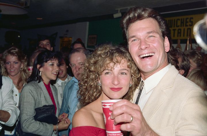 "Jennifer Grey (right) and Patrick Swayze at the premiere of ""Dirty Dancing"" in 1987."