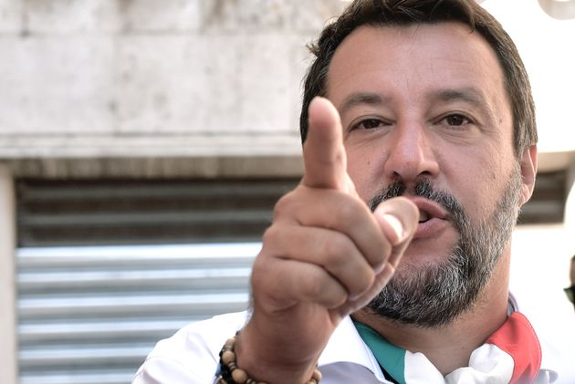 ROME, ITALY - JULY 28: Lega party leader Matteo Salvini talks to journalists before participating in...