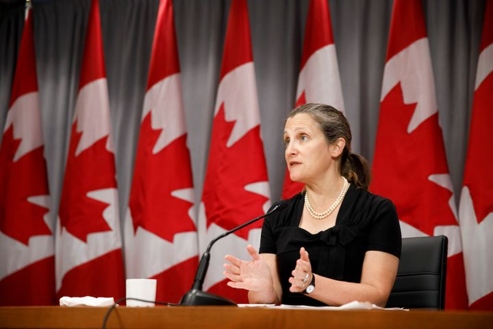 Deputy Prime Minister Chrystia Freeland speaks during a press conference in Toronto on Aug. 7, 2020.