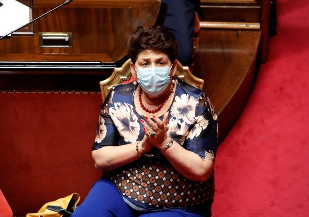 The Minister of Agricultural Policies Teresa Bellanova with surgical mask in the Senate Hall during the...