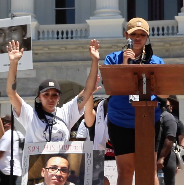 Sean Monterrosa's sisters Michelle (left) and Ashley (right) at a rally for victims of police violence in Sacramento, Califor