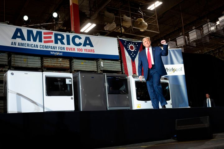 President Donald Trump arrives to deliver remarks after touring a Whirlpool manufacturing plant in Clyde, Ohio, on Thursday.
