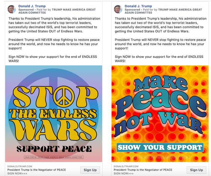 """Trump ads currently running on Facebook. They do not mention his use of the so-called """"Mother of All Bombs."""""""