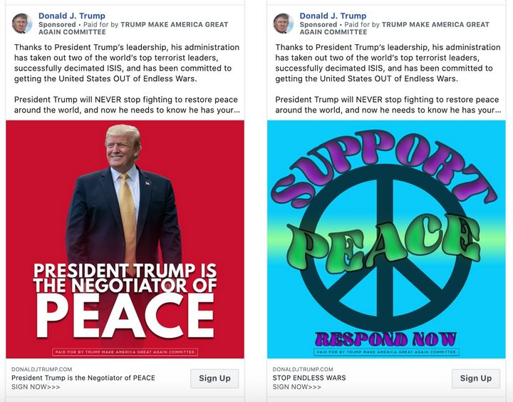 Trump campaign ads currently running on Facebook.