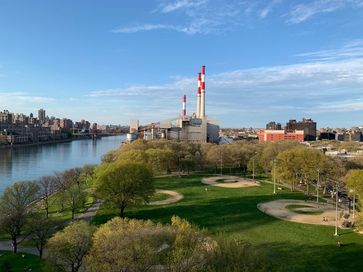 A view of the Ravenswood Generating Station from the Ed Koch Queensboro Bridge. The power plant is building New York State's