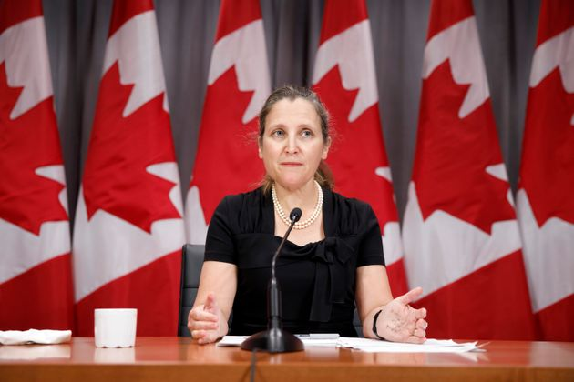Deputy Prime Minister Chrystia Freeland speaks during a press conference in Toronto on