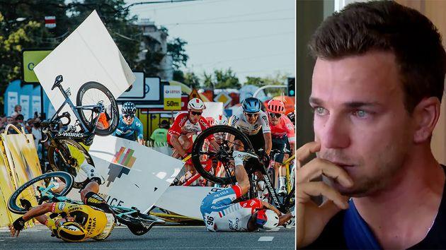 Après avoir provoqué une chute terrible sur le Tour de Pologne, le sprinteur Dylan Groenewegen...