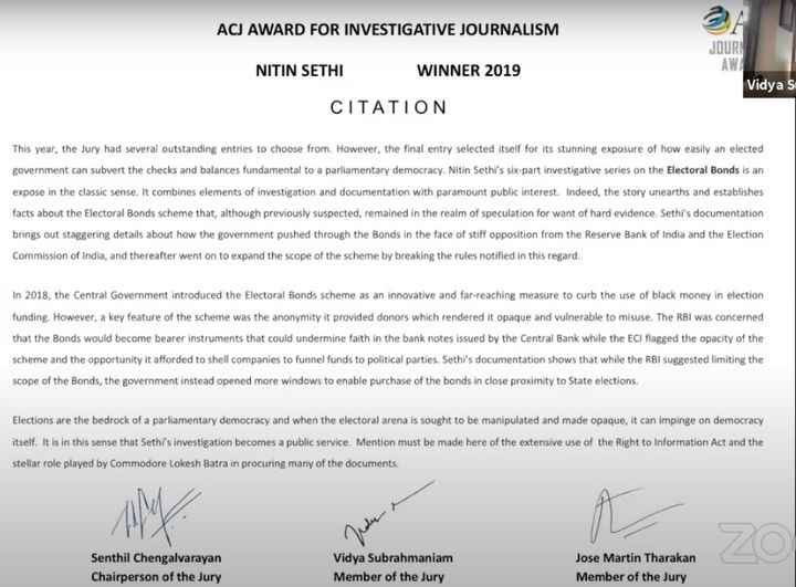 The citation given by ACJ to journalist Nitin Sethi