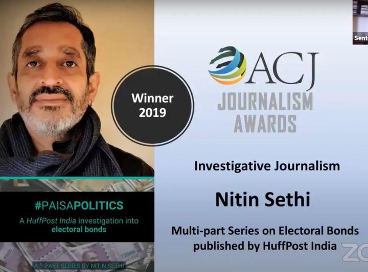 Nitin Sethi wins the ACJ Journalism Award
