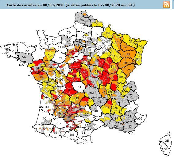 La carte des départements de métropole concernés par des restrictions d'eau au 8 août