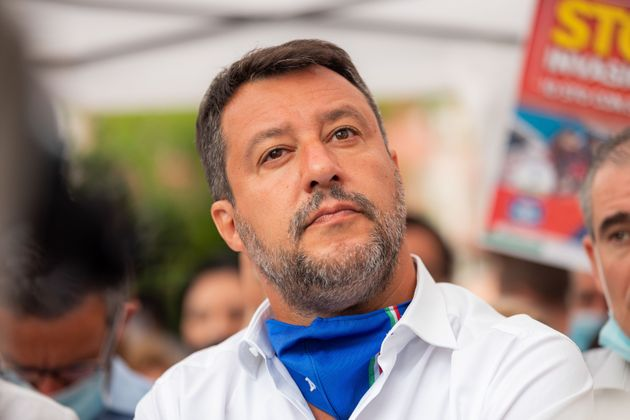 Matteo Salvini attends the press conference to announce Roberto Di Stefano, mayor of Sesto San Giovanni,...