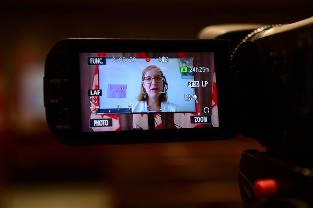 Karina Gould, Minister of International Development, holds a press conference via videoconference on...
