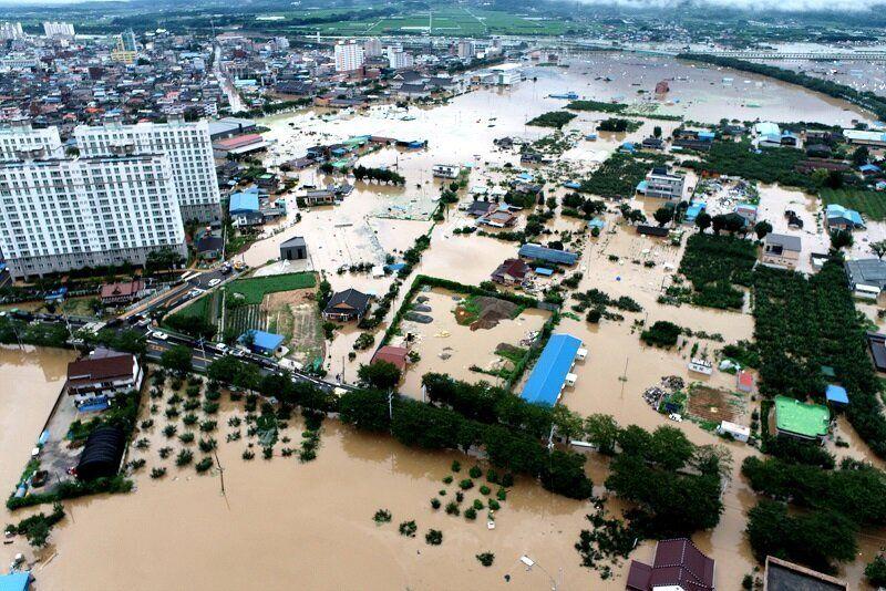 7일과 8일 전남 구례군에 380㎜의 집중호우가 내리며 섬진강·서시천이 범람, 구례읍 지역이 침수되고 막대한 피해가