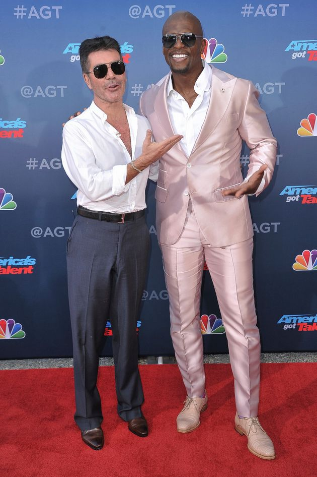Simon Cowell and America's Got Talent host Terry Crews pictured at the show's press launch in March