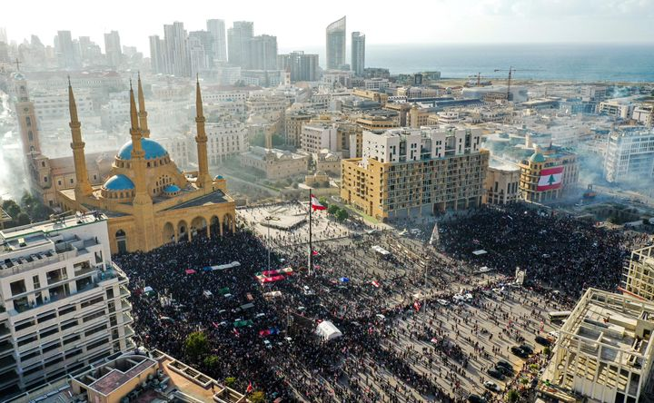 This picture taken on August 8, 2020 shows an aerial view of clashes between demonstrators and security forces, in downtown B