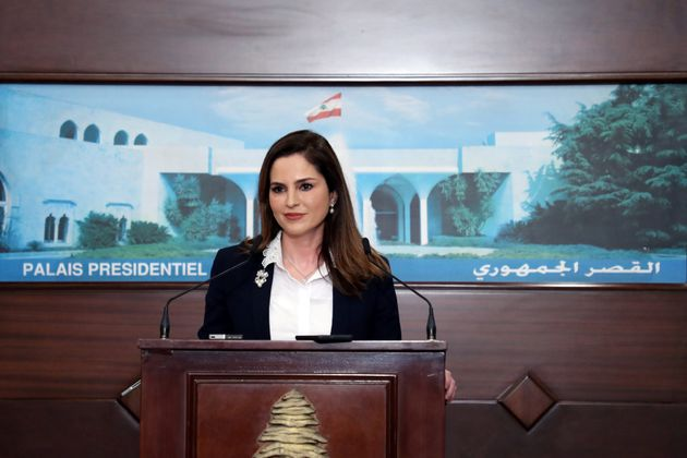 Information Minister Manal Abdel Samad attends a news conference, at the presidential palace in Baabda,...