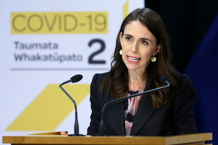 New Zealand Prime Minister Jacinda Ardern addresses a press conference after the 2020 budget at Parliament in Wellington, New