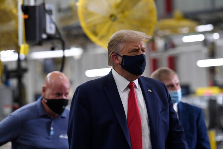 President Donald tours the Whirlpool Corporation in Clyde, Ohio, Thursday, Aug. 6, 2020. (AP Photo/Susan Walsh)