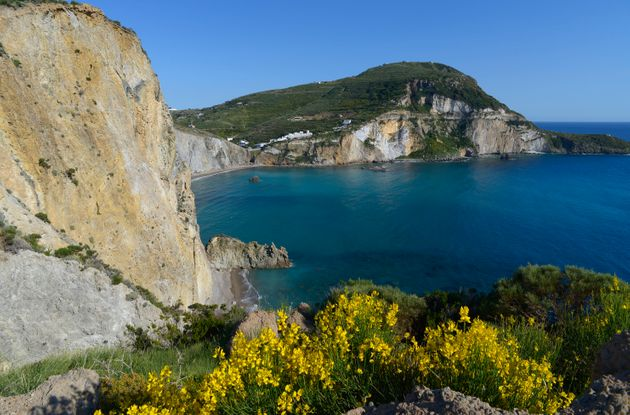 View over the tuff cliffs of Chiaia di Luna with the Monte Guardia in the background, Ponza, Pontine...