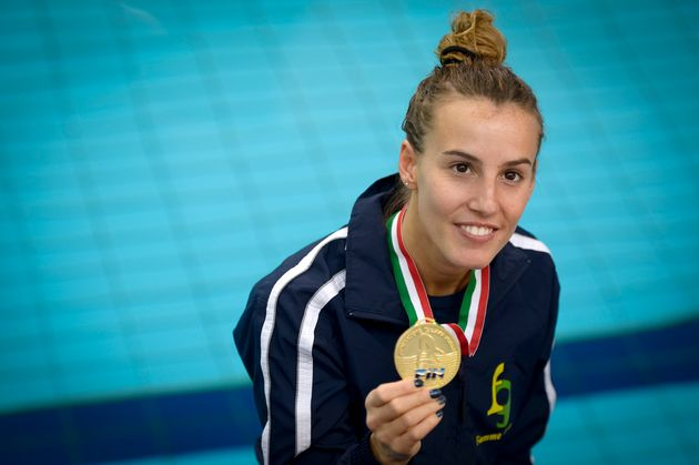 PISCINA MONUMENTALE, TURIN, ITALY - 2017/05/13: Tania Cagnotto shows her gold medal after the Women's...