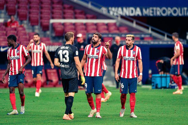 Jugadores del Atlético de Madrid en el último partido de