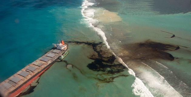 Le Wakashio, échoué à l'île Maurice et à l'origine d'une marée...