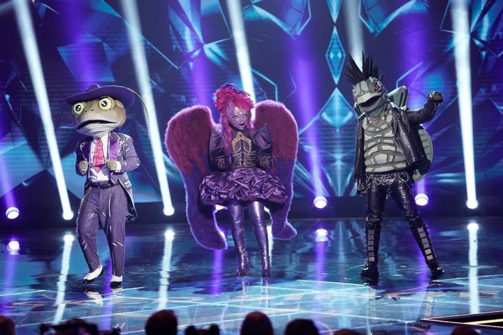 The US Masked Singer: L-R: The Frog, Night Angel and Turtle
