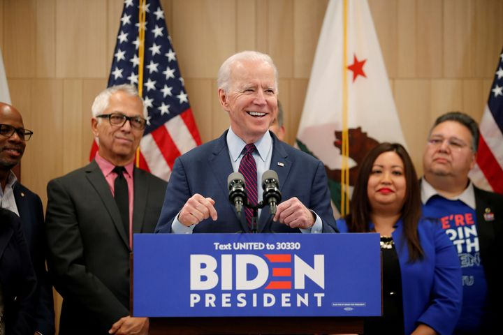 Presumptive Democratic presidential candidate and former Vice President Joe Biden speaks during a campaign stop in Los Angeles on March 4.