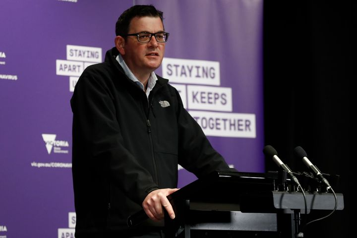 Victorian Premier Daniel Andrews speaks to the media at the daily briefing on August 09, 2020 in Melbourne, Australia.