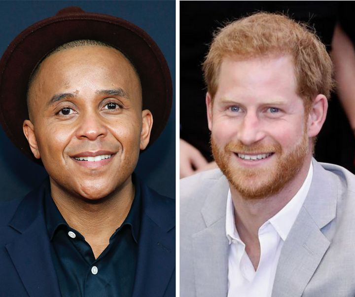 Civil rights activist Rashad Robinson (L), Prince Harry (R)