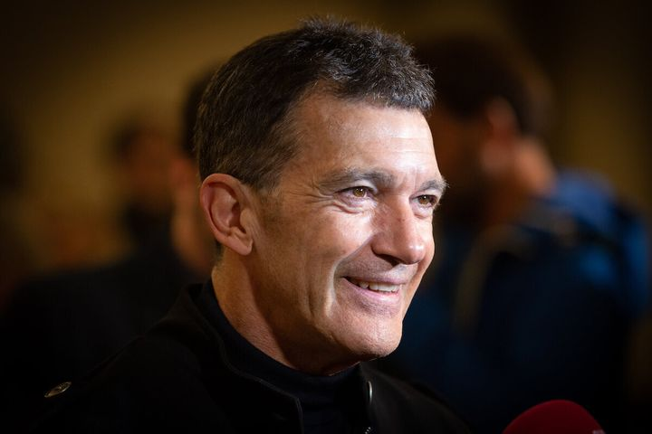 Antonio Banderas attends an event in Barcelona in February.The Oscar-nominated performer says he's confident he will recover from the novel coronavirus.