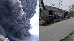 L'eruzione del vulcano Sinabung nel video amatoriale ripreso dalla strada