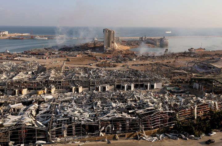 <strong>The damage at the site of last week's blast in Beirut's port area.</strong>