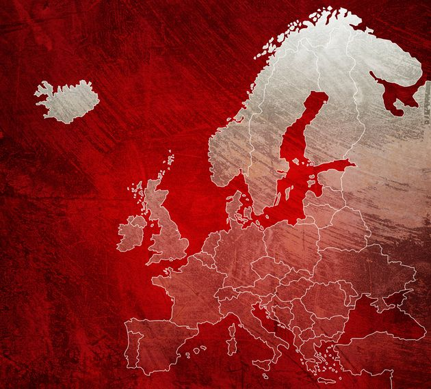 Painted red map of Europe with brush