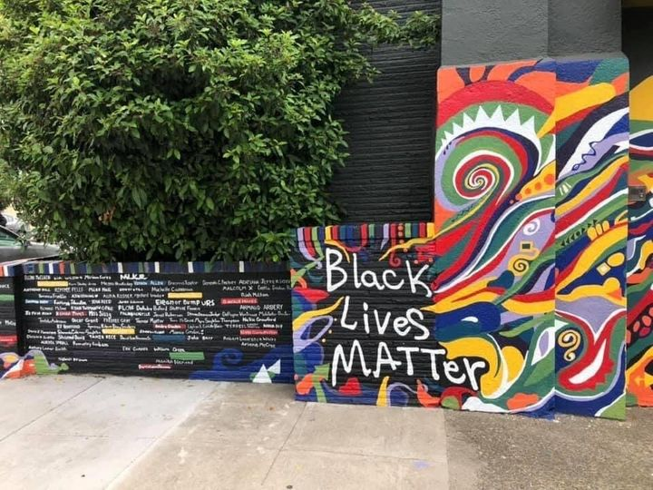 "The mural includes the names of Martin Luther King Jr.,&nbsp;<a href=""https://www.huffpost.com/entry/story-emmett-till-murder-under-threat_n_5ddda083e4b0913e6f756a46"" target=""_blank"" rel=""noopener noreferrer"">Emmett Till</a> and&nbsp;<a href=""https://www.huffpost.com/topic/breonna-taylor"" target=""_blank"" rel=""noopener noreferrer"">Breonna Taylor.</a>&nbsp;Colored bricks are reserved for the names of people from Portland."