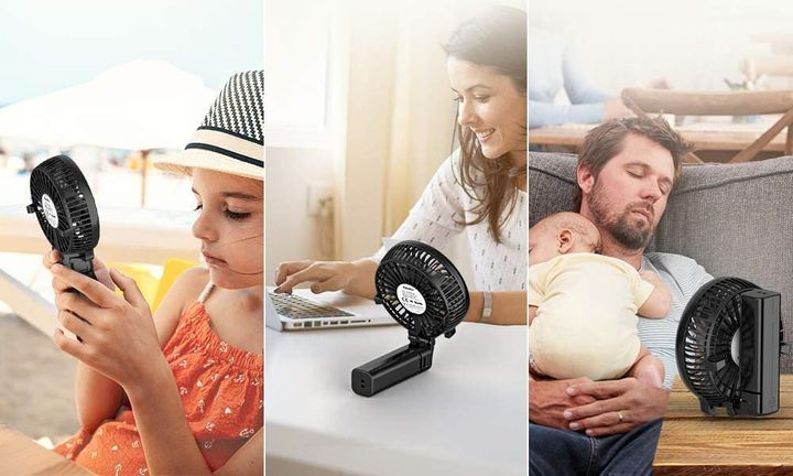 "Hold <a href=""https://amzn.to/33I1yHv"" target=""_blank"" rel=""noopener noreferrer"">this portable mini fan</a> by the handle or fold it in half and prop it up on a table for hands-free cooling.&nbsp;"