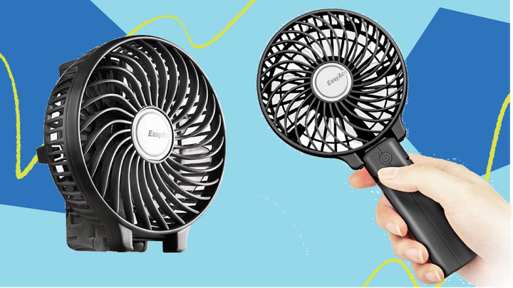 """The answer to sweaty summers might be this ridiculous-looking <a href=""""https://amzn.to/33I1yHv"""" target=""""_blank"""" rel=""""noopener noreferrer"""">portable fan on Amazon</a>."""