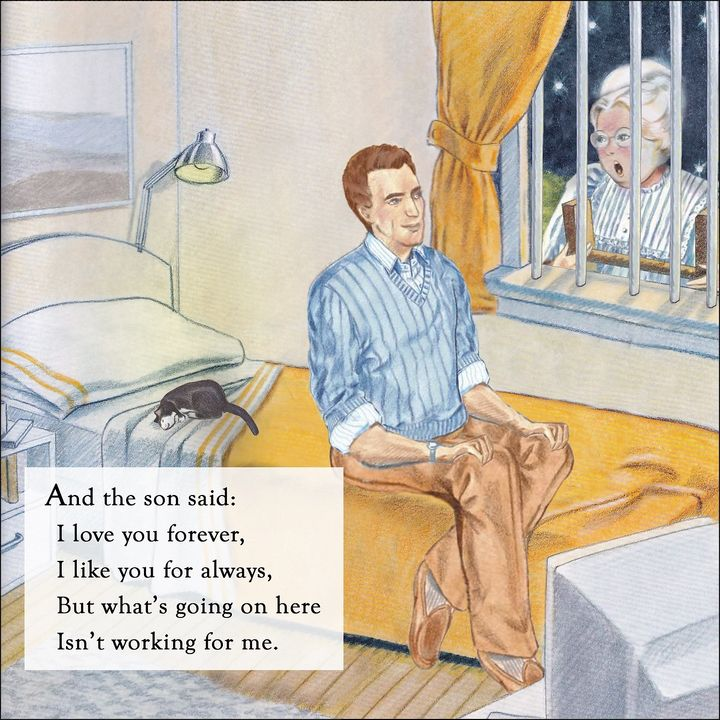 "Topher Payne's rewrite of ""Love You Forever."" He did the illustrations himself, based on Sheila McGraw's original illustrations from the original."