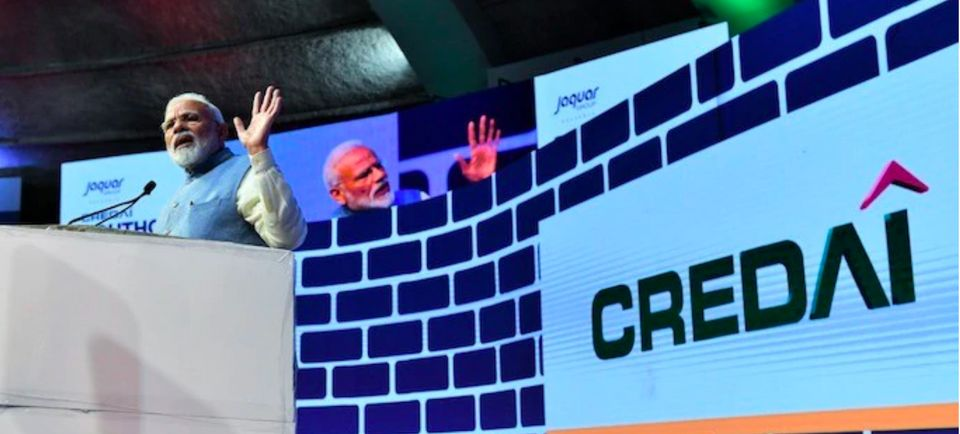 Screenshot of Prime Minister Narendra Modi addressing the CREDAI YouthCon-2019 at the New Delhi's Talkatora...