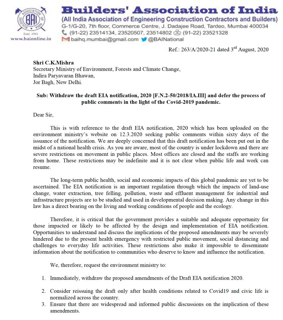 First page of the letter written by Builders' Association of India President Mu. Moahan to the environment...