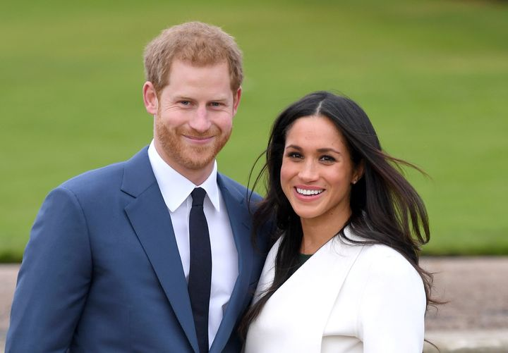 Prince Harry and Meghan Markle announce their engagement at London's Kensington Palace on Nov. 27, 2017.