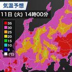 熱中症警戒アラート、関東の1都6県と山梨県に発令。40℃に迫る可能性も(8月11日の天気)