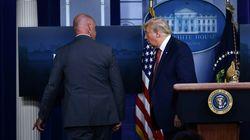백악관 바깥에서 총격이 벌어져 트럼프가 브리핑 도중 긴급