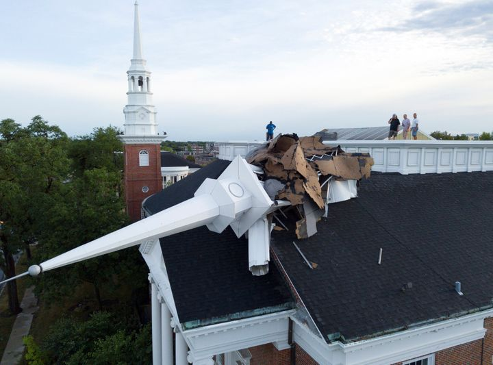 The steeple at College Church in Wheaton, Ill. was toppled during a storm Monday, Aug. 10, 2020, in the northwest suburbs of