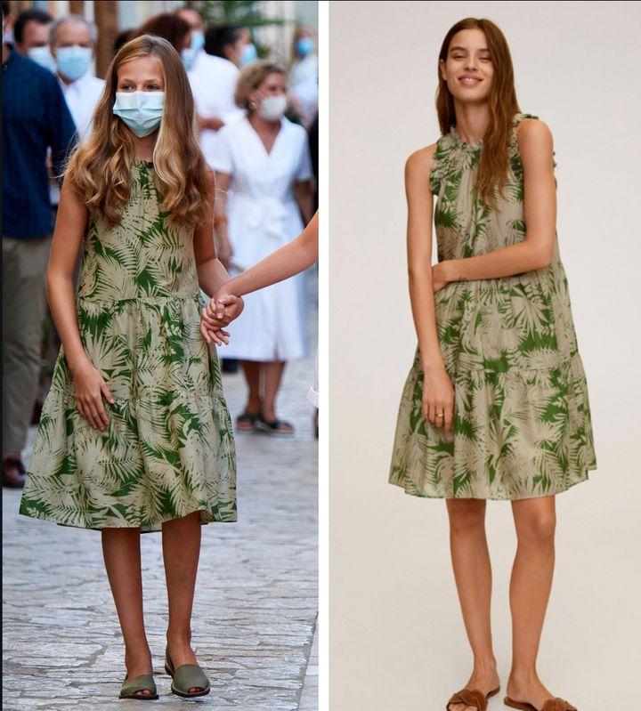 El vestido tropical verde de Mango de la princesa Leonor.