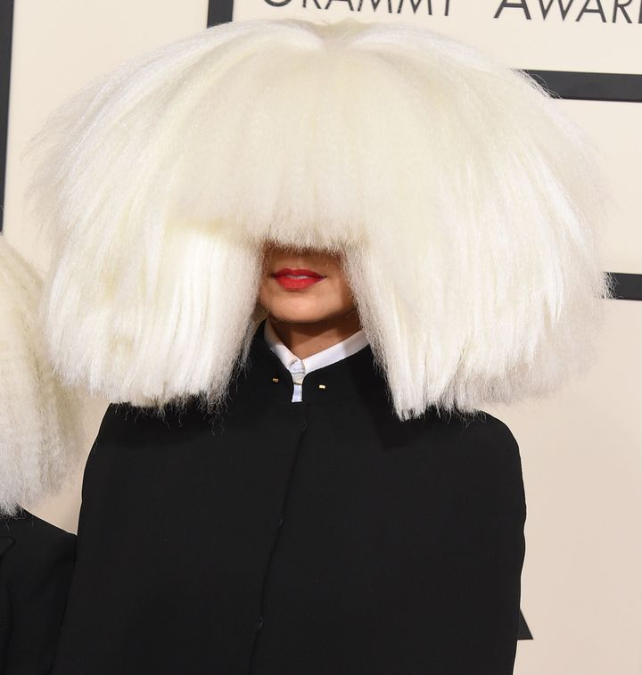 Sia arrives at the The 57th Annual GRAMMY Awards on February 8, 2015 in Los Angeles, California.