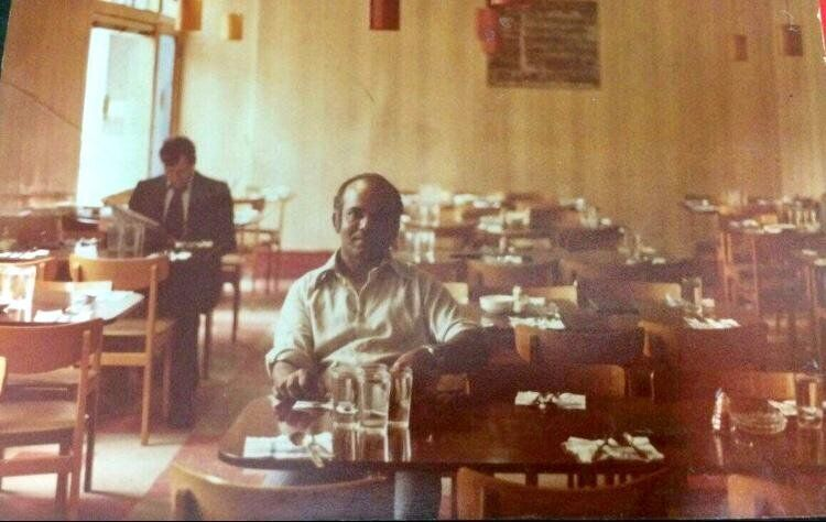 Mahaboob Narangoli's father Usman Abubakar in the 1970s at the Halal Restaurant